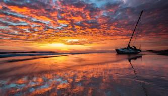 облака, море, яхта, закат