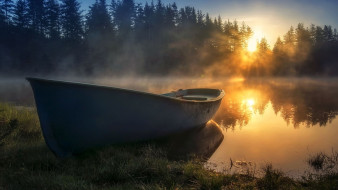 корабли, лодки,  шлюпки, утро, лодка