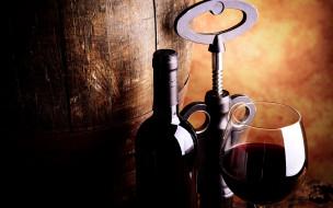 бутылка, вино, бочка, бокал
