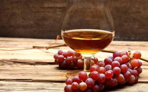 бокал, вино, виноград