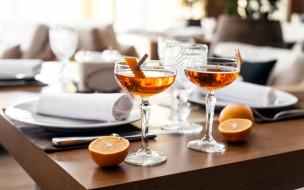 апельсин, вино, бокалы