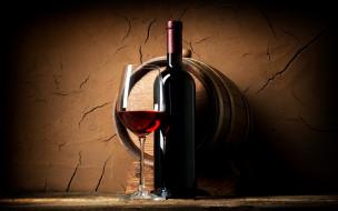 бокал, бутылка, вино, бочка