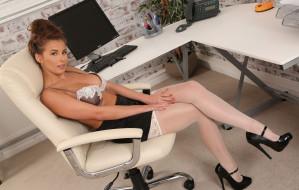 цветок, компьютер, стол, секретарь, офис, туфли, чулки, юбка, белье, Сара Макдональд