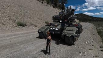 фон, танк, девушка, взгляд
