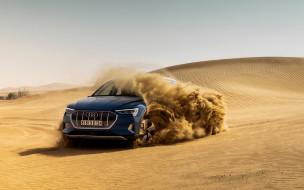 синий, электромобиль, песок, дюны, пустыня, внедорожник, электрический, ауди, немецкие электромобили