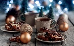 праздничные, угощения, печенье, чай