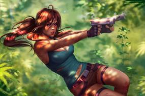 фон, взгляд, пистолет, девушка