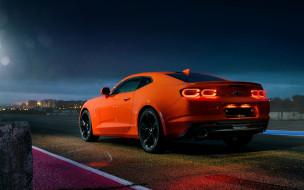 оранжевый, американские автомобили, новый камаро, экстерьер, вид сзади, автомобиль, спортивный