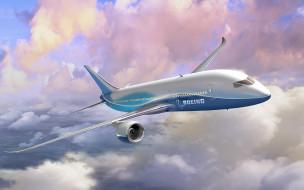самолет, Боинг, полет, облака, небо