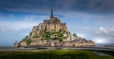 mont saint michel, города, крепость мон-сен-мишель , франция, простор