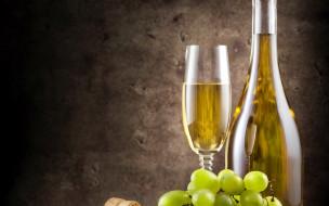 бокал, виноград, вино
