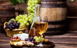 виноград, вино, бокал