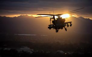 американский, ударный вертолет, военные вертолеты, закат, ввс сша, небо