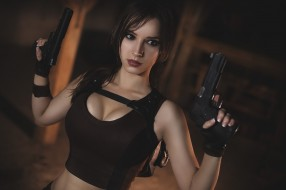 униформа, пистолет, девушка, фон