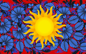 Хохломская роспись, Солнце, Цветы, Роспись, Арт, Стиль, Фон, Хохлома