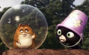мультфильмы, bolt, хомяк, шар, котенок, ведро