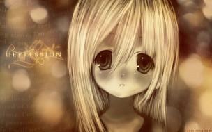 лицо, депрессия, взгляд, девочка