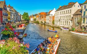 цветы, канал, лодки