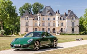 зеленый, 911, Carrera, Порше, парк, дворец