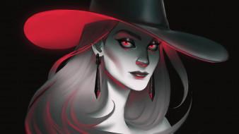 шляпа, фон, взгляд, девушка