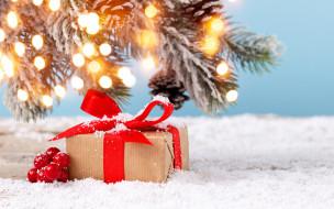 зима, снег, новый год, подарки, фонарики, гирлянда, елка