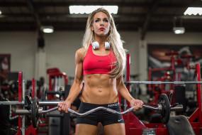 спорт, body building, женщины, наушники, длинные, волосы, спортивные, залы, блондинка, штанга