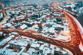 города, - панорамы, улица, снег, зима, огни, городской, вид, трафик, длинная, выдержка, литва, каунас