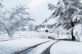 природа, зима, дом, забор, дорога, снег