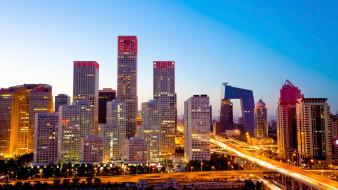 небоскребы, столицы, пекин, китай, мегаполис, города
