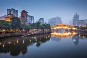 мост, река, вечер, города, пекин, китай, столицы