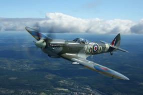 самолет, панорама, полет, истребитель, Spitfire