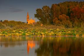 Италия, церковь, озеро, осень, деревья