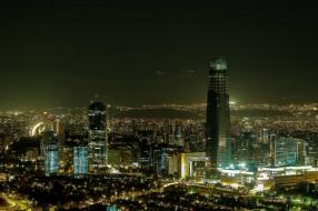 города, сантьяго , Чили, огни, вечер