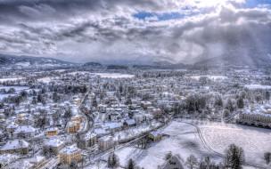 города, зальцбург , австрия, зима