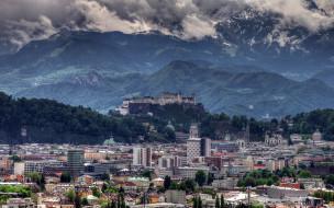 города, зальцбург , австрия, панорама, горы