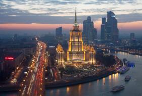 москва, россия, вечер, столицы, города