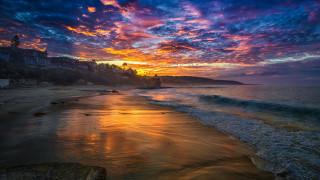 закат, море, берег, облака, небо, поселок, дома
