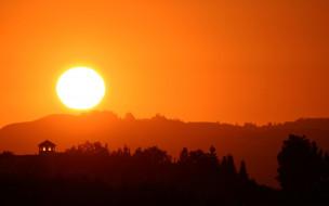 силуэты, солнце, закат