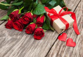 подарок, коробка, розы, цветы