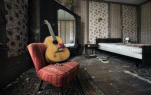 гитара, роза, кресло