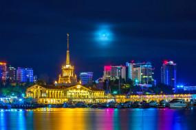 морвокзал, Сочи, Россия, город, море, ночь, огни