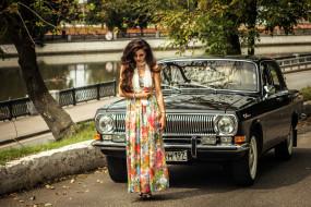 автомобиль, девушка, ГАЗ- 24, Волга