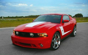 красный, gt, mustang, Ford