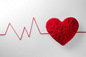 День святого Валентина, красные, фон, пульс, сердце, нитки, клубок, креатив