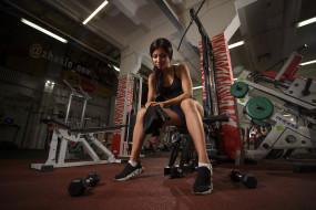 фитнес, фон, взгляд, девушка