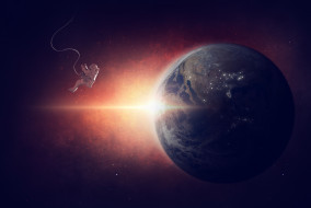 космонавт, вселенная, планета, галактики, земля, звезды