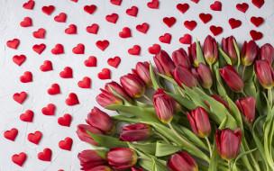 букет, сердечки, любовь, тюльпаны, красные