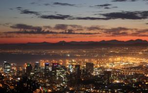 города, кейптаун , юар, город, залив, горы