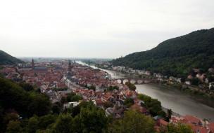 города, гейдельберг , германия, река, панорама, мост