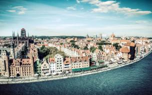 города, гданьск , польша, панорама